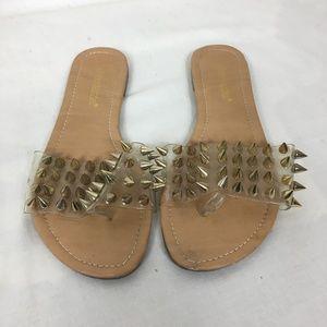 Shoe Dazzle Gold Spike Sandals